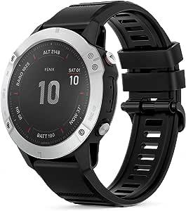 TUSITA QuickFit 22mm Watch Band for Garmin Fenix 5 Plus, Fenix 6 Pro Sapphire, Approach S60 S62 Bundle,Forerunner 935 945, Instinct, MARQ Captain,Quatix 5 Sapphire 6,D2 Delta (Black)