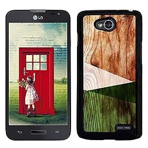 Funda carcasa para LG L70 diseño efecto madera color verde borde negro