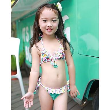9301e3609fb Amazon | ガールズ 水着 リボンとレース付き キッズ 女の子 子供水着 セパレート2点セット | 水着 通販