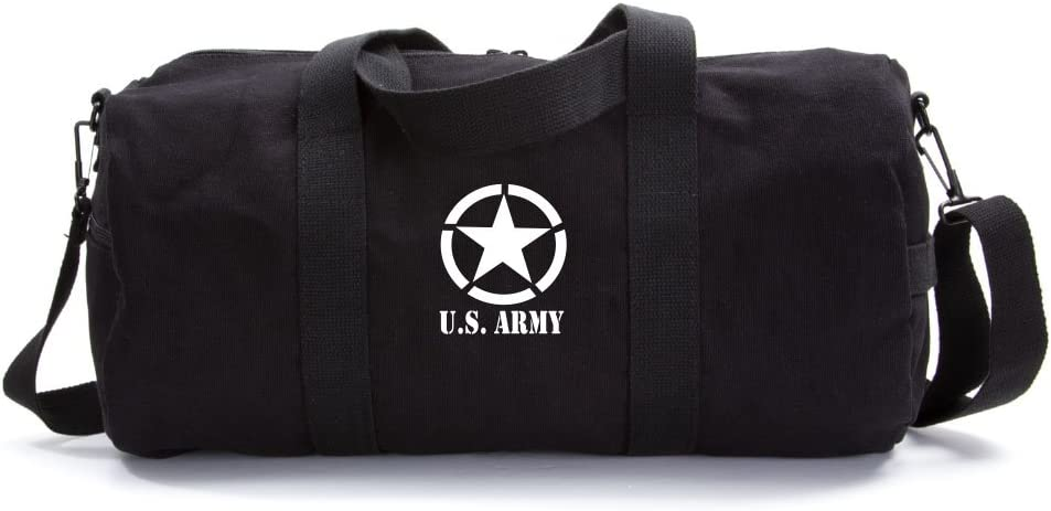 U.S Army Star Military Heavyweight Canvas Duffel Bag in Olive Large