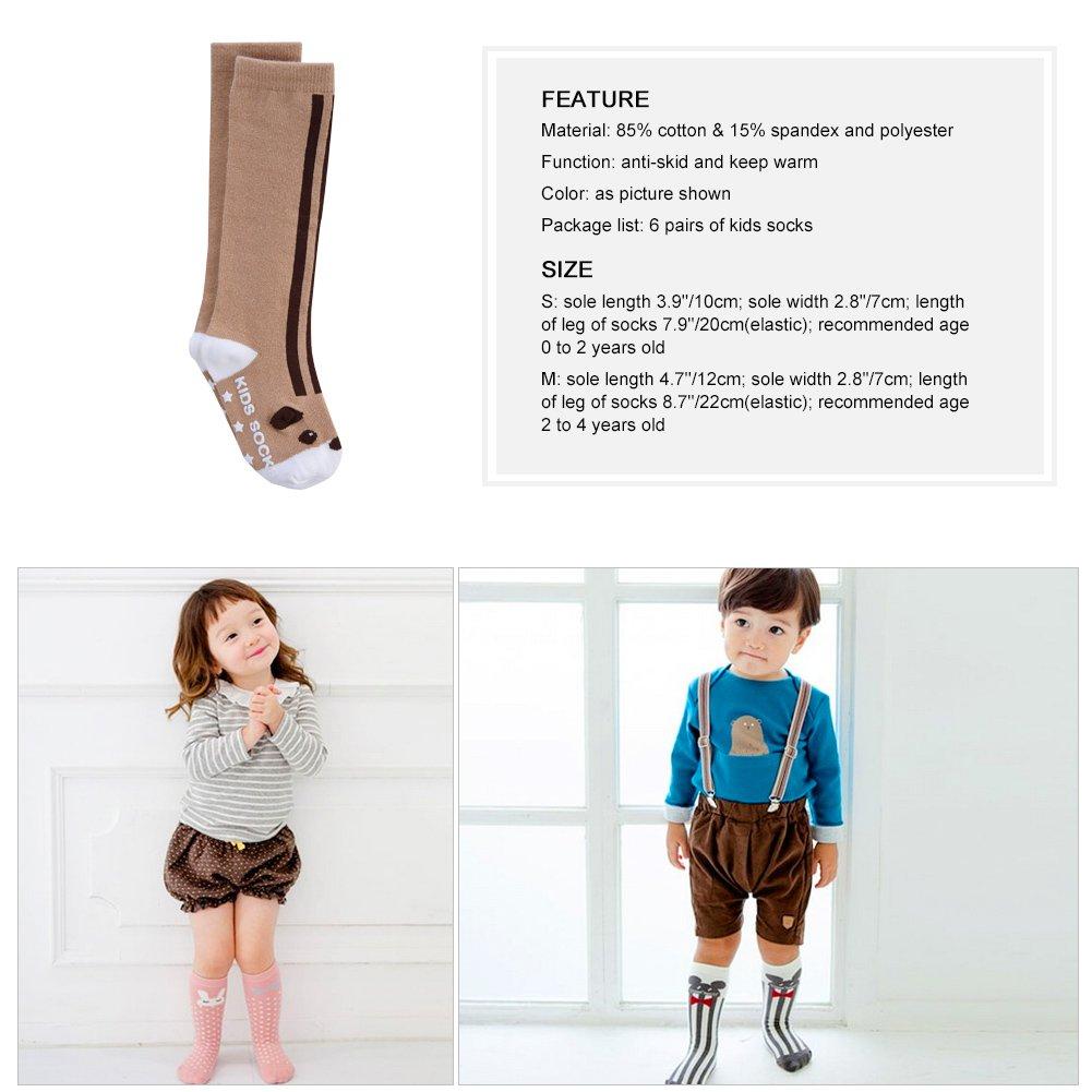 Vbiger 6 Paar Kleinkind Jungen &Mädchen Baumwolle Socken Dicken Winter Socken Kniehohe Socken Rutschfeste Strümpfe, 0-4 Jahren