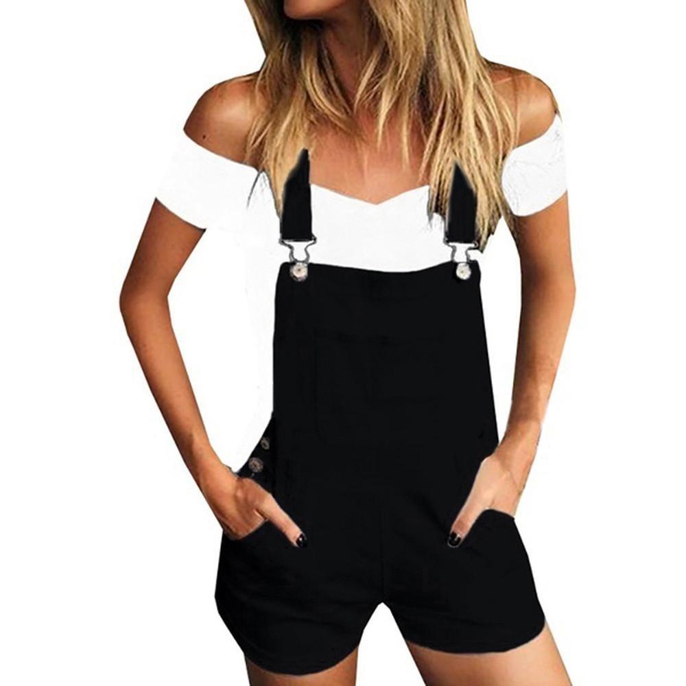 Ladies' Suspenders,❤️Women Loose Denim Bib Hole Pants Overalls Jeans Demin Plus Size Cotton Shorts Jumpsuit (Black, M)