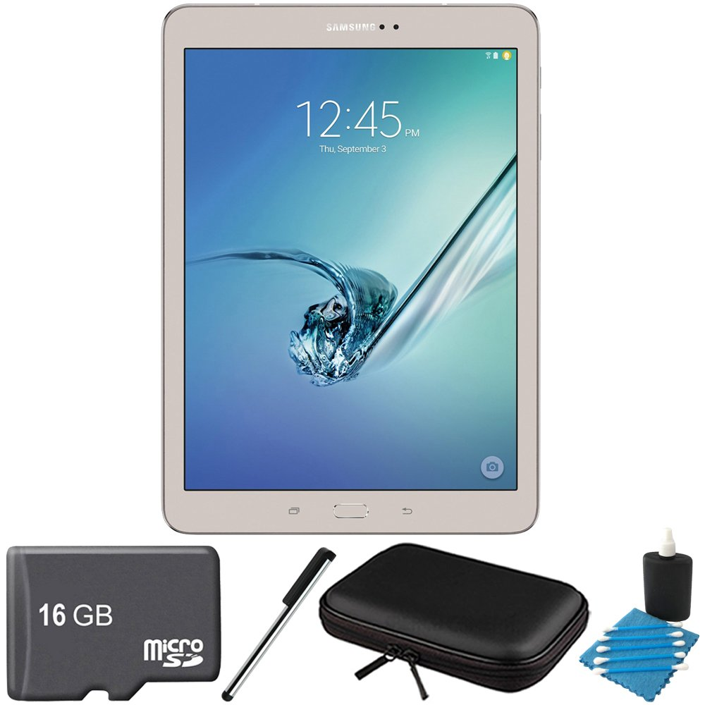 Samsung Galaxy Tab S2 9.7-inch Wi-Fi Tablet (Gold/32GB) SM-T810NZDEXAR 16GB MicroSD Card Bundle includes Galaxy Tab S2, 16GB MicroSD Card, Stylus Stylus Pen, Protective Tablet Sleeve by Samsung