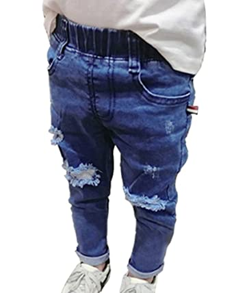801e6575d71fd Girl's Boys Jeans with Ripped Knees Stretchy Jeans Kids Jeggings Denim Trousers  Pants Light Blue 130CM