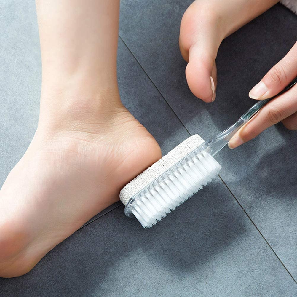 Artibetter 2pcs long manche pierre ponce d/écapant peaux mortes brosse 4 en 1 pied p/édicure meulage brosse ponce autolaveuse brosse fichier des pieds