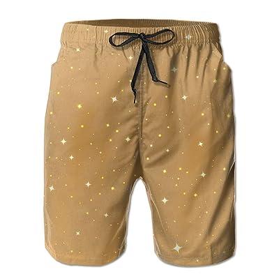 Golden Starry Men's Quick Dry Swim Trunks Beach Board Shorts