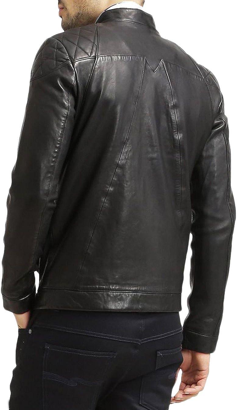 Kingdom Leather Men Slim Fit Biker Motorcycle Lambskin Leather Jacket Coat Outwear Jackets X1216