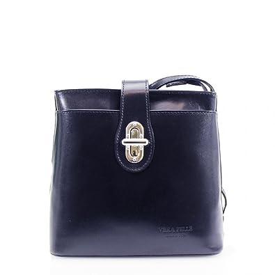6c63c87765d3 Ladies Vera Pelle Italian Leather Small Cross Body Shoulder Bag Satchel  Handbag New UK Navy  Amazon.co.uk  Shoes   Bags
