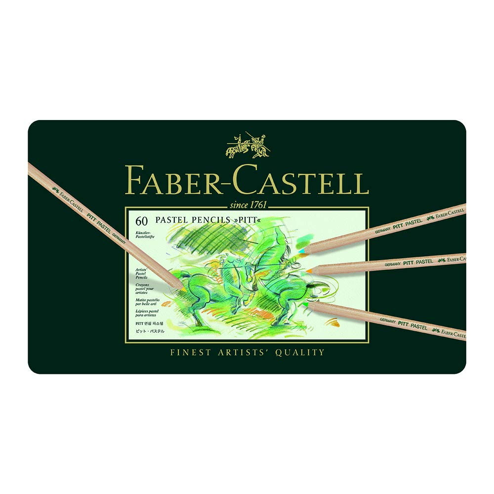 Faber-Castel FC112160 Pitt Pastel Pencils in A Metal Tin (60 Pack), Assorted by Faber Castell