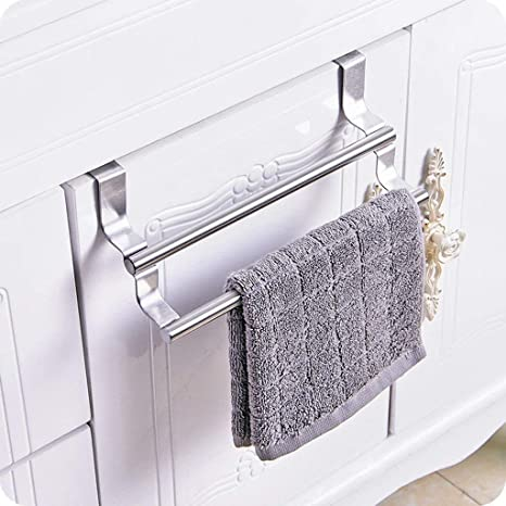 Estante de baño Autoportante toalla toallero estante libre de punzonado posterior de puerta de acero inoxidable estante de toalla de cocina colgados de trapo estantería de baño Toalla Bar Polo toalla: Amazon.es: