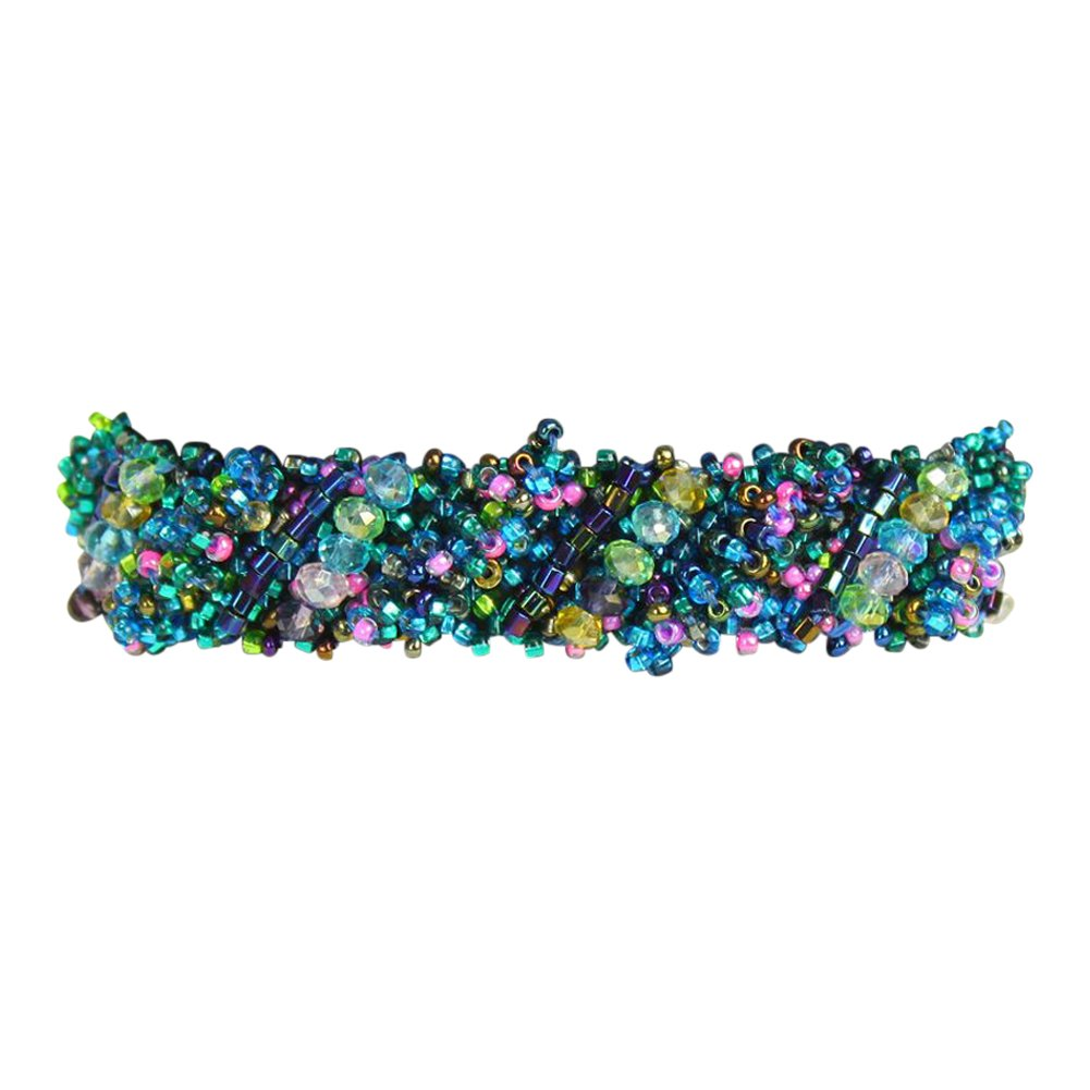 Diagonal Beaded Bracelet with Magnetic Clasp, Handmade in Guatemala (Blue Multi-Colored)