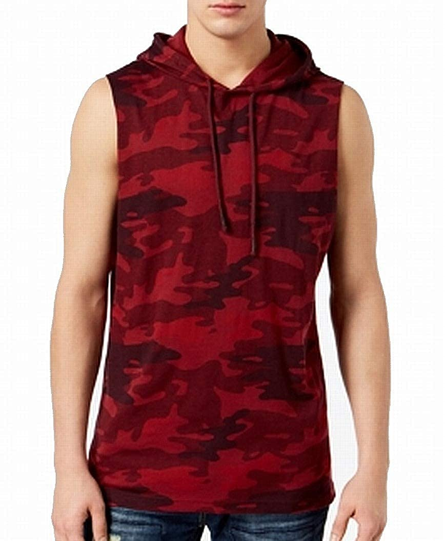 American Rag Dark Mens Camo Print Hooded Tank Shirt Red 2XL