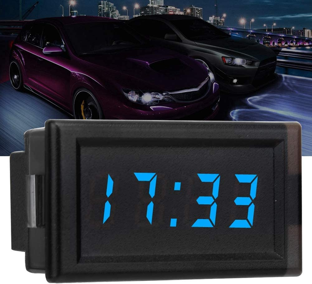 KIMISS DC4.5-30V Display digitale a LED con orologio elettronico per auto antipolvere impermeabile Blu
