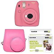 Fujifilm Instax Mini 9 Instant Camera with Instax Groovy Camera Case (Flamingo Pink) & Instax Mini Instant Film Value Pack