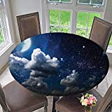 Mikihome Modern Table Cloth Celestial Solar Night Scene Stars and Clouds Heaven Place in Cosmos Theme Indoor or Outdoor Parties 47.5''-50'' Round (Elastic Edge)