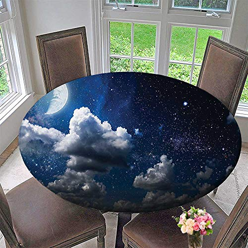 Mikihome Modern Table Cloth Celestial Solar Night Scene Stars and Clouds Heaven Place in Cosmos Theme Indoor or Outdoor Parties 47.5''-50'' Round (Elastic Edge) by Mikihome