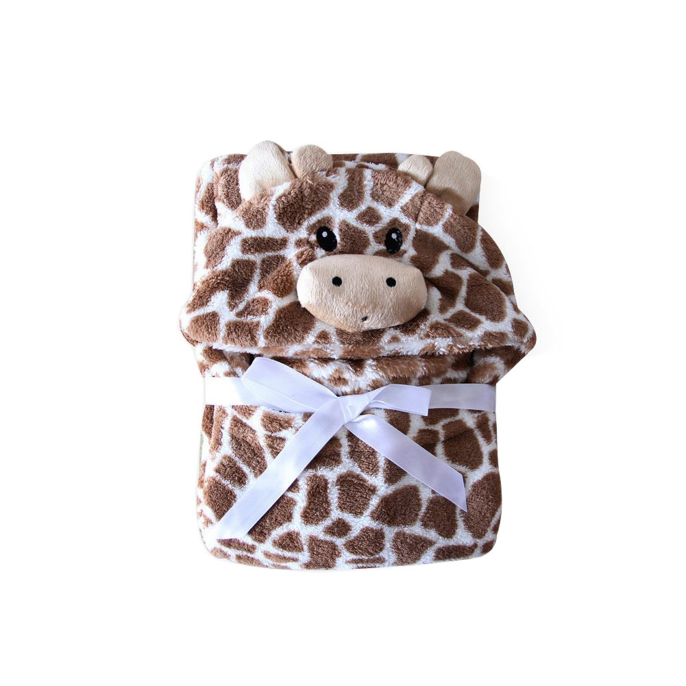 Feicuan Baby Hooded Towels Bathrobes Fleece Blanket Girls Animal Pattern Wrap Sleepwear 0-7 Years Old 76cm x 102cm(29.9
