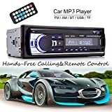 Rixow Bluetooth Vehicle Car Audio Stereo Built-in 12V FM Radio Receiver with MP3 Player and Support USB/SD Input AUX Receiver Including Remote Control