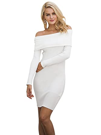 07f33a12fb6 Simplee Women s Off Shoulder Ribbed Knitted Bodycon Slim Fit Mini Jumper Dress  White 6-12