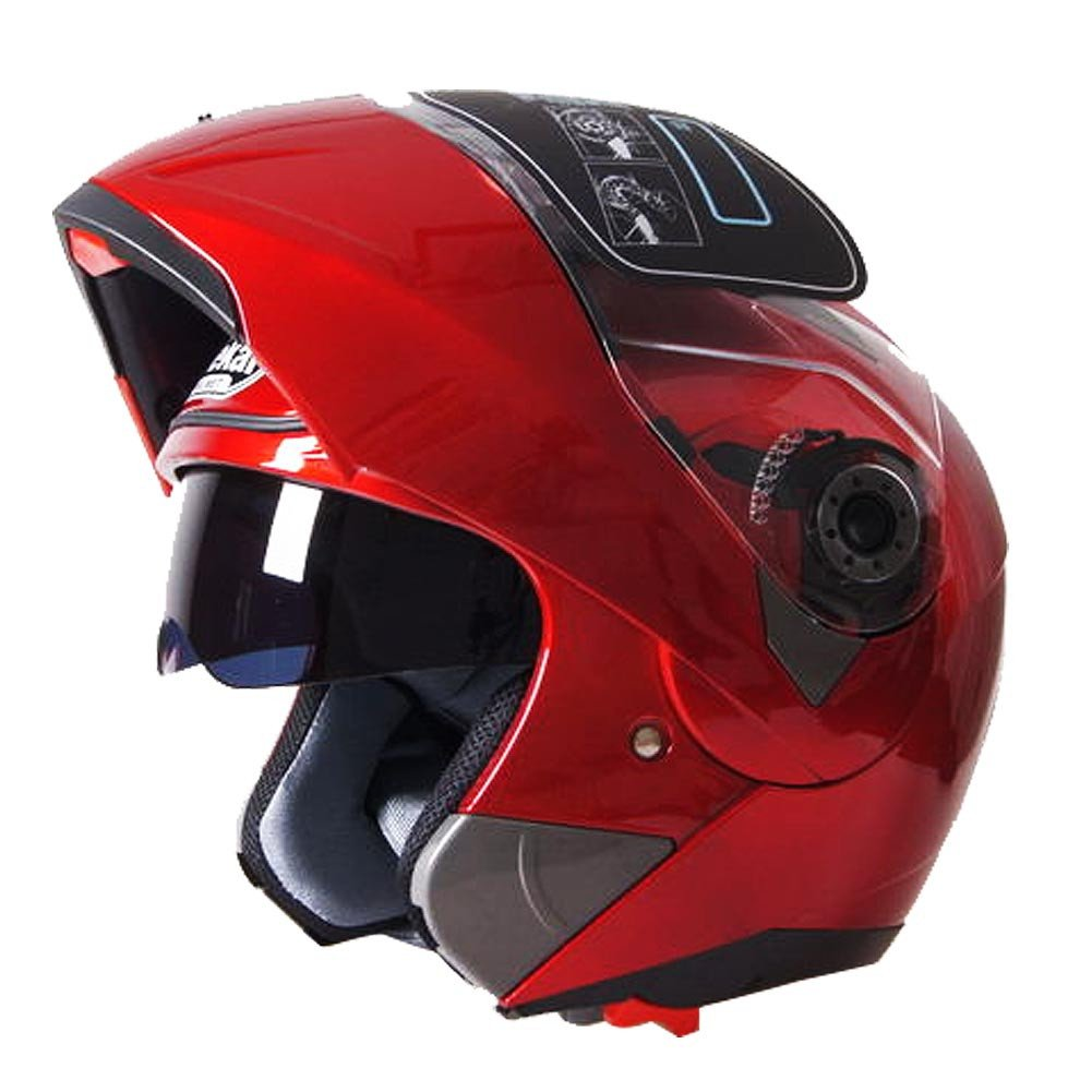 Tpfocus Unisex Modular Flip up Dual Visor/Sun Shield Motorcycle Helmet Street Bike Full Face Helmet-Red M JieKai