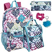 Girl's 6 in 1 Backpack Set With Lunch Bag, Pencil Case,and Accessories (Groovy Hearts)