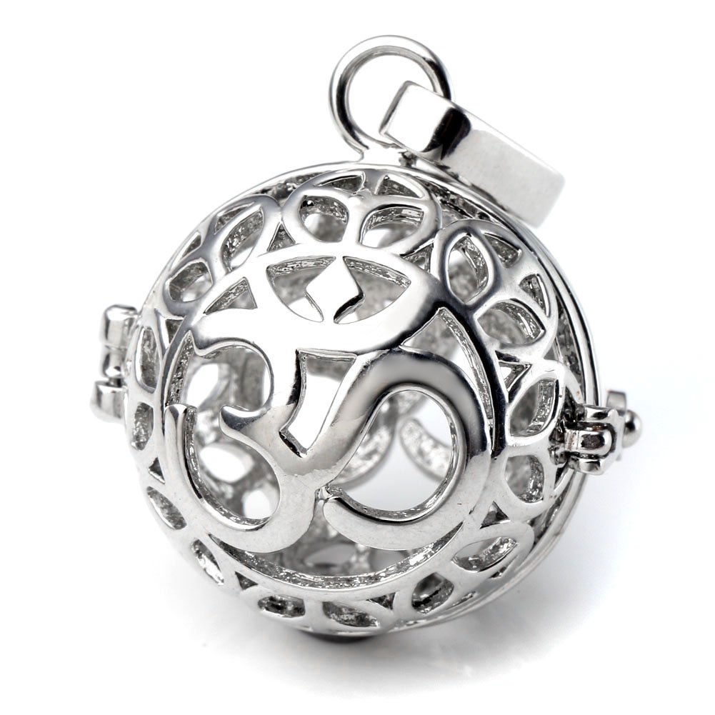 Top Plaza Aromatherapy Essential Oil Diffuser Necklace Silver 7 Chakras Locket Pendant With 5 Dyed Lava Stones(OM Symbol)