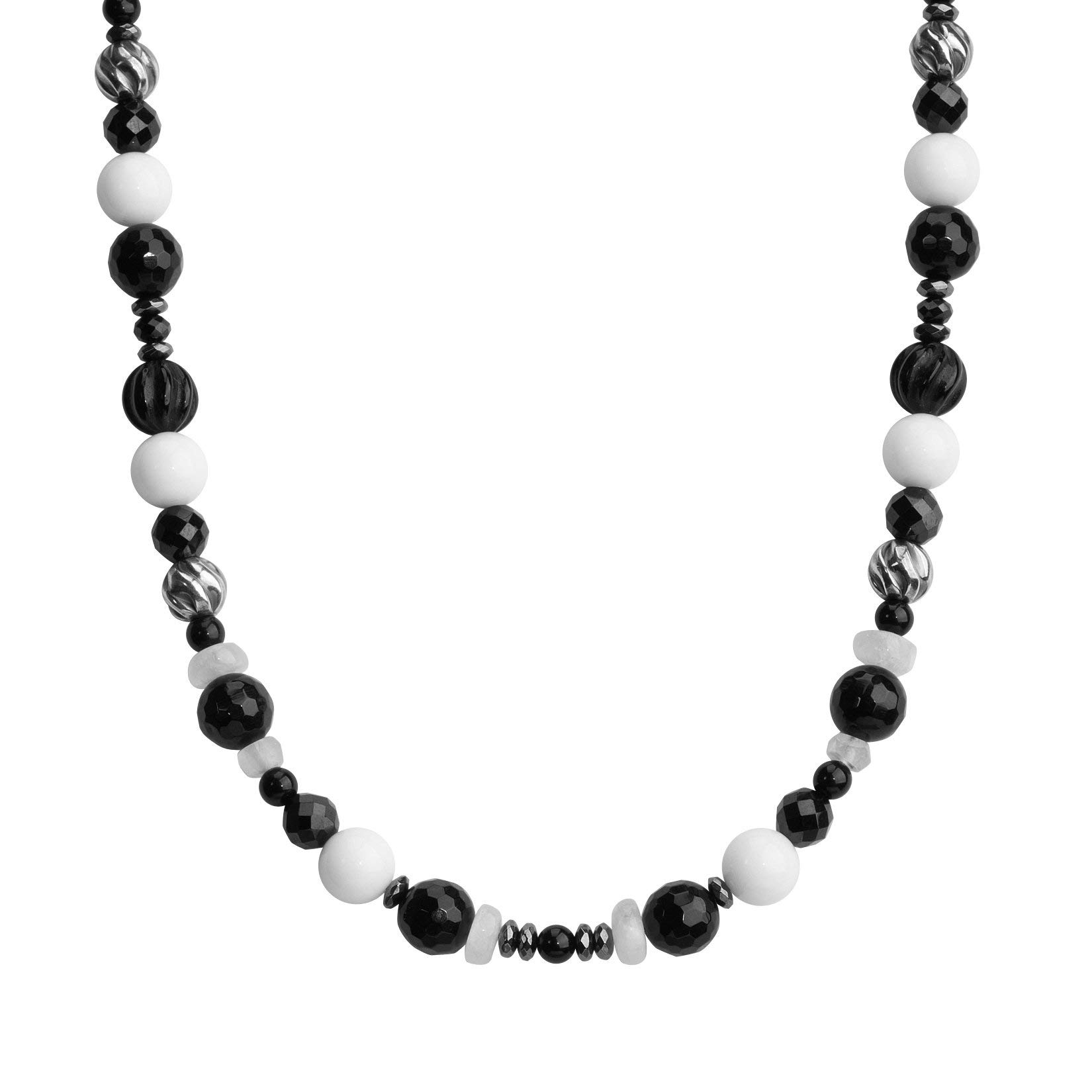 American West Jewelry Sterling Silver Black Agate, Onyx, Spinel, Hematite and Moonstone Gemstone Beaded Necklace 16 to 19 Inch
