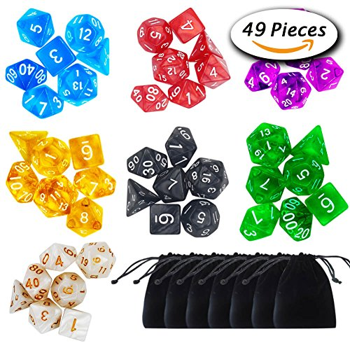 Paxcoo 7 x 7 (49 Pieces) Polyhedral Dice with Pouches for Dungeons and Dragons DND RPG MTG D20 D12 D10 D8 D4 (49 7 1 Of)