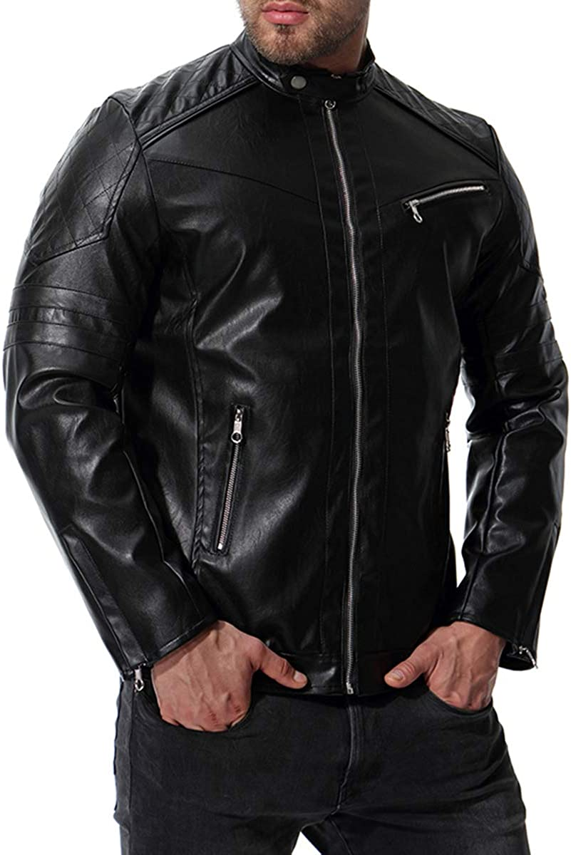 AOWOFS Mens Stand Collar Faux Leather Jacket Motorcycle Bomber Fashion Punk Slim Coat