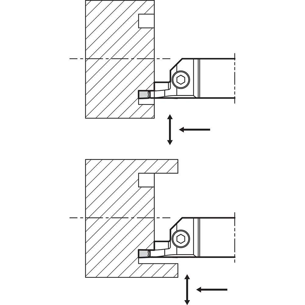 Right-Hand Face Grooving Toolholder with a 15.00mm Max Depth of Cut for Face Grooving Applications Kyocera KGDFR 2525M1155BZ Integral Style