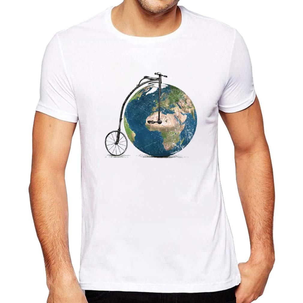 Jmgirl Earth car Mens Mens Summer Slim Solid Color Short Sleeve Casual Fun T-Shirt