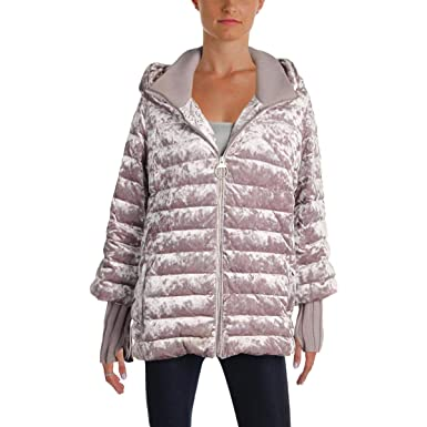 fresh styles really comfortable luxury DKNY Sport Womens Crushed Velvet Down Jacket, Wren, Large at ...