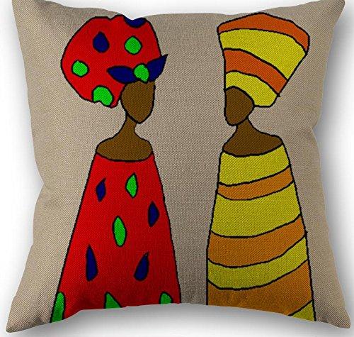 Linaraキャンバスのブティック装飾正方形スロー枕クッションカバー、肖像画のアフリカBeautyシリーズソファ、ソファー、ベッド、ホーム装飾、インテリアデザイン、18