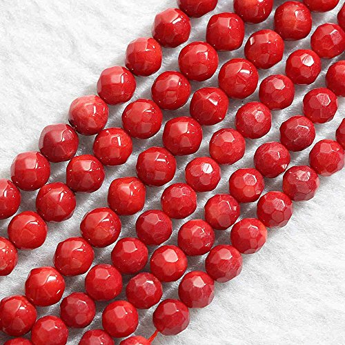 Faceted Red Coral Round Beads - 7