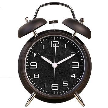 SeSDY Reloj de Alarma Estéreo Reloj Despertador Digital Clásico Creativo Mudo Fuerte Campana de Moda Doble Estudiante de Moda Chico Chica Reloj Despertador ...