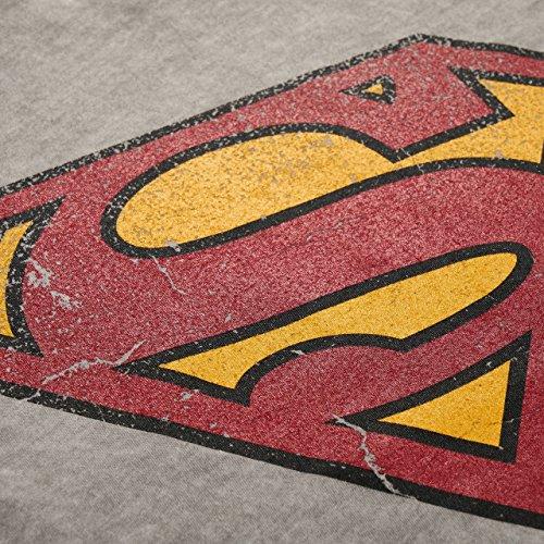 GOZOO Superman T-Shirt Herren Vintage Logo 100% Baumwolle Grau