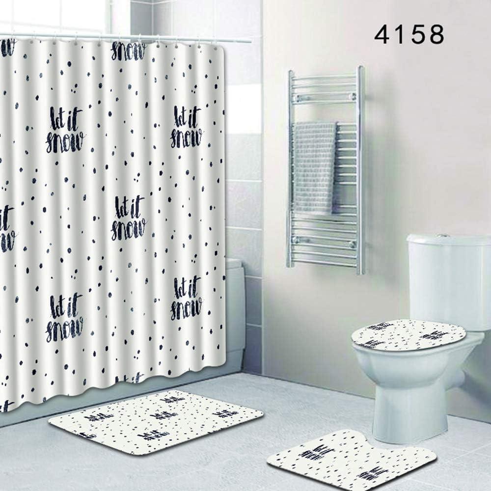 4Pcs//Set Anti-Slip Bathroom Toilet Rug+Lid Toilet Cover+Shower Curtain+Bath Mat