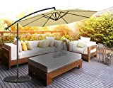 Masvis 10 ft offset cantilever patio umbrella outdoor market hanging umbrellas & crank with cross base, 8 ribs (Beige)