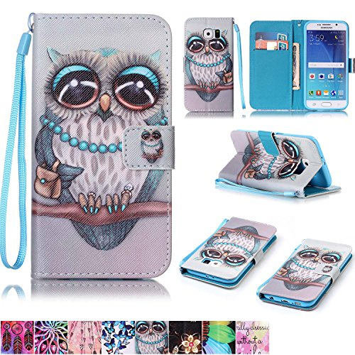 Galaxy S6 Case,Firefish [Kickstand Feature] Durable Leather Flip Folio Wallet Case with Card Slot and Anti-scratch Protective Cover for Samsung Galaxy S6-Gray Owl
