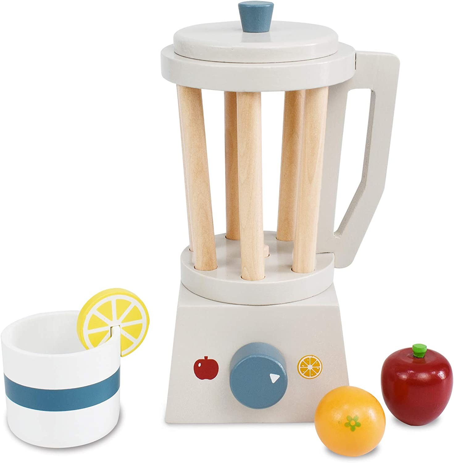 PairPear Play Kitchen Pretend Blender Smoothie Maker - Wooden Toy Mixer Play Food with Accessories Apple Orange Fruit Juice