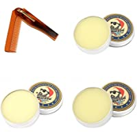 MagiDeal 3 Scents(Sandalwood/Orange/Eucalyptus) Beard Balm, Leave-in Taming Conditioner Wax Butter, and One Folding Beard Styling Comb