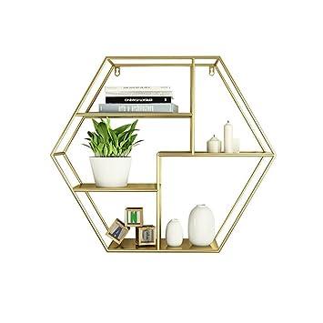 DHMHJH Nordic Minimalistischen Wohnzimmer Wandbehang Schmiedeeisen  Fotorahmen Bücherregal Geometrische Trennwand Display Stand