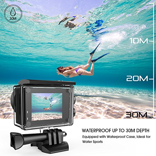 61ookyCEQTL - DBPOWER N5 4K Action Camera, 5X Zoom HD action cam 20MP Sony Sensor Sports Camera, EIS Wi-Fi 98FT Underwater Camera with 170° Wide-Angle Lens Including 2 Rechargeable Batteries and 17 Accessories Kit