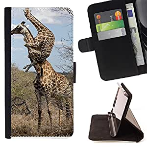 Dragon Case- Caja de la carpeta del caso en folio de cuero del tir¨®n de la cubierta protectora Shell FOR Apple iPhone 4 4S 4G- Giraffe Cute Cartoon