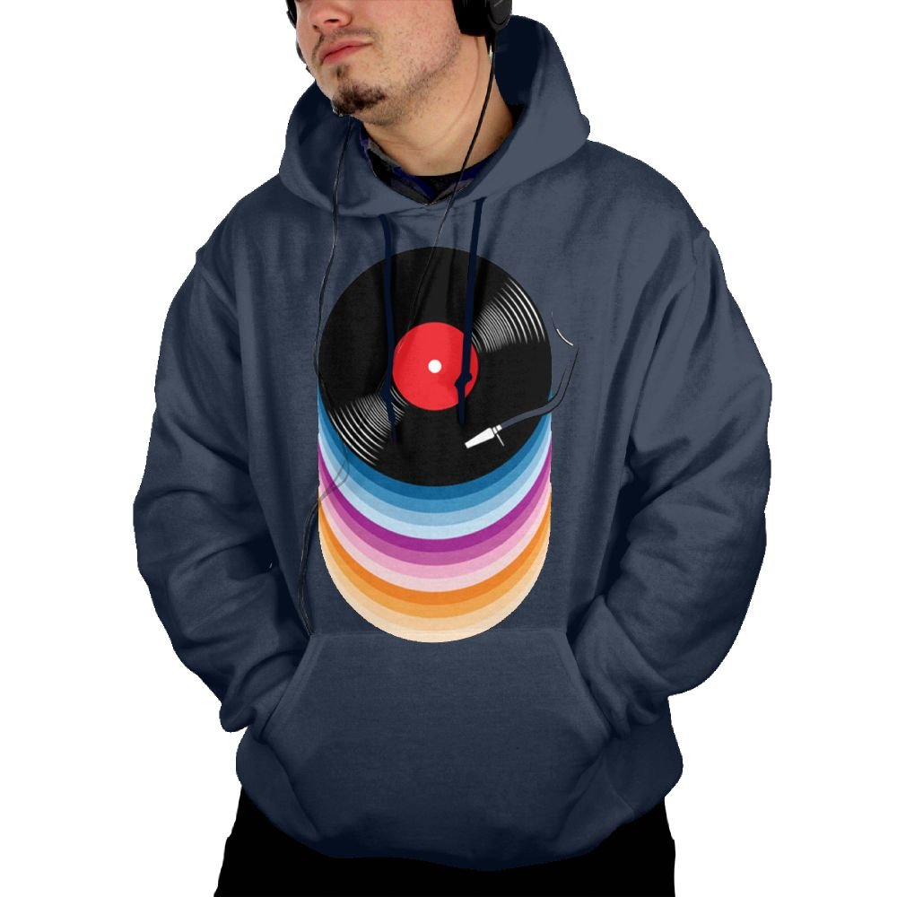 5a60778e0 Obachi Rainbow Color record Men's Soft Long Sleeve Pullover Pocket Hooded  Sweatshirt Navy at Amazon Men's Clothing store: