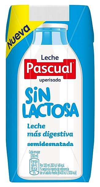 Pascual Leche sin Lactosa Semidesnatada - Paquete de 18 x 200 ml - Total: 3600