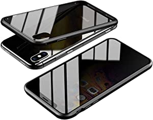 Anti-Spy Case for iPhone Xs Max (6.5 inch), Jonwelsy 360 Degree Front and Back Privacy Tempered Glass Cover, Anti Peeping Screen, Magnetic Adsorption Metal Bumper for iPhone Xs Max (Black)