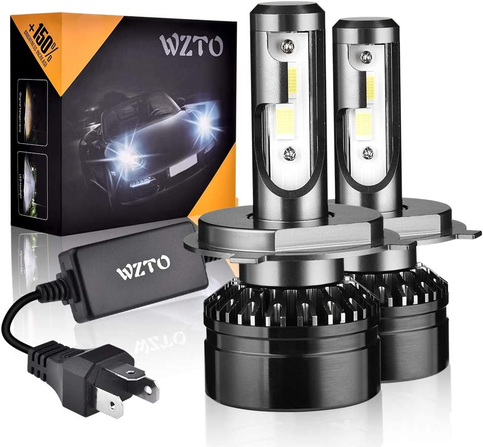 H4/9003 LED, WZTO 2pcs Lampara H4/9003 LED 12000LM Faros Delanteros 60W 12/24V 6000K Bombillas LED Coche Kit Impermeable, Garantía de 2 Años