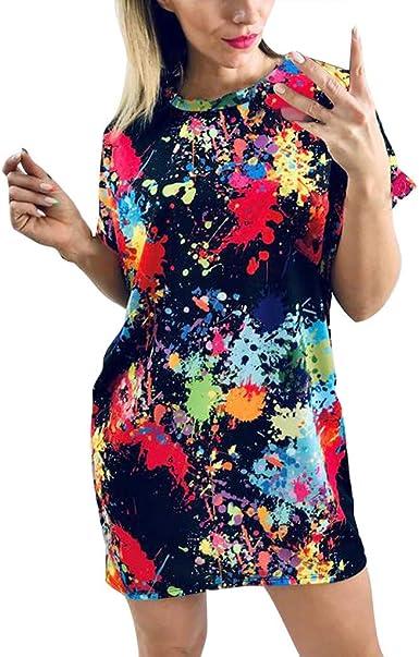 Womens Summer Short Mini Dress Ladies Patchwork Beach Long Tops T Shirt Blouse