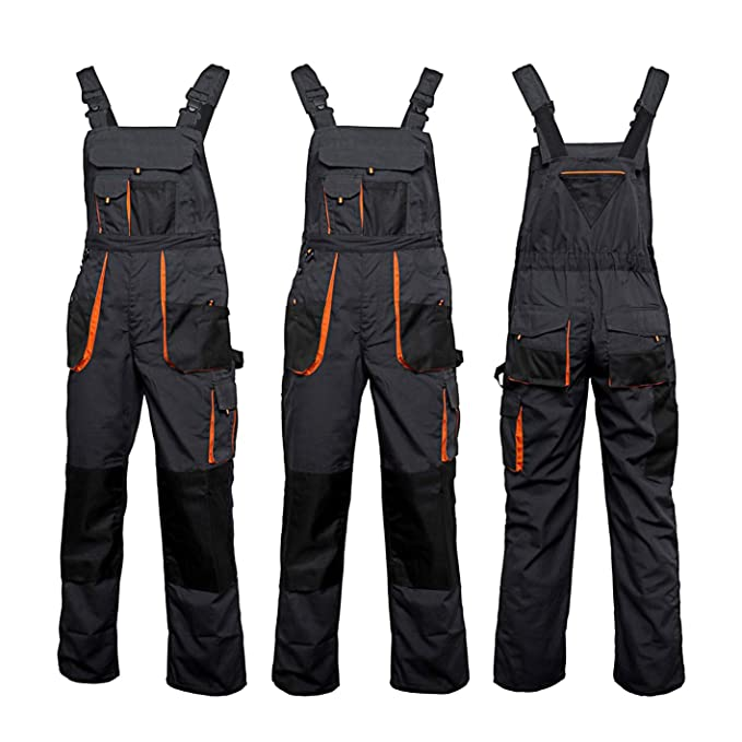 e0c603289ae Bib and Brace Overalls Mens Work Trousers Knee Pad Dungarees Multi Pocket  Clasic and Knee Pads  Amazon.co.uk  Clothing